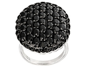 Black Spinel Sterling Silver Ring 5.43ctw