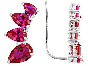 Red Lab Created Ruby Rhodium Over Sterling Silver Earring Climbers 3.57ctw