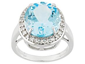 Sky Blue Topaz Sterling Silver Ring 8.89ctw