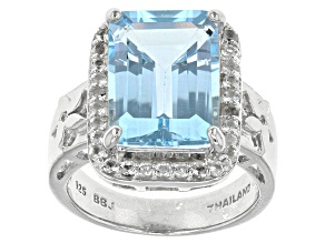 Sky Blue Topaz Sterling Silver Ring 8.37ctw