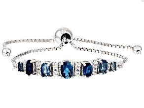 Blue Topaz Sterling Silver Sliding Adjustable Bracelet 3.56ctw