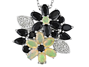 Black Spinel Sterling Silver Pendant With Chain 4.12ctw
