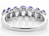 Blue Tanzanite Rhodium over Sterling Silver 7-stone Band Ring 1.54ctw