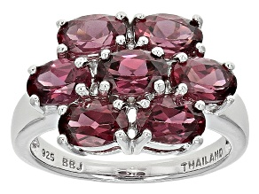 Purple Rhodolite Sterling Silver Ring 3.33ctw