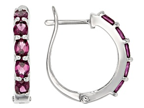 Purple Rhodolite Garnet Rhodium Over Sterling Silver Hoop Earrings 1.95ctw