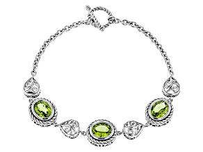 Green Peridot Sterling Silver Bracelet 7.14ctw