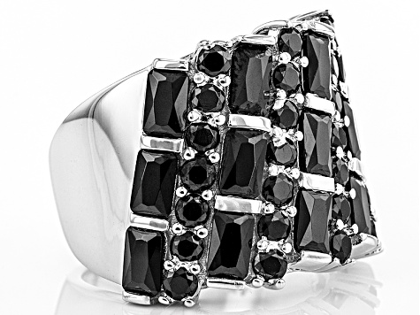 Black Spinel Sterling Silver Ring 3.48ctw