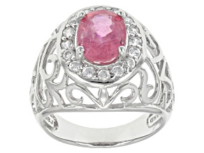 Pink Mahaleo Sapphire Sterling Silver Ring 2.56ctw