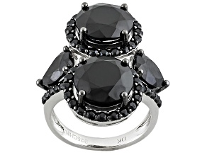 Black Spinel Sterling Silver Ring 7.65ctw