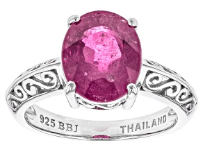 Pink Mahaleo Sapphire Sterling Silver Ring 3.96ct