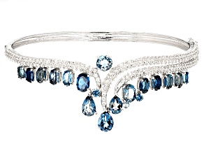 London Blue Topaz Sterling Silver Bangle Bracelet 13.32ctw