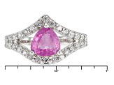 Pink Mahaleo Sapphire Sterling Silver Ring 1.90ctw