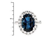 London Blue Topaz Sterling Silver Ring 7.89ctw