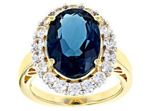 London Blue Topaz 18k Yellow Gold Over Sterling Silver Ring 7.88ctw