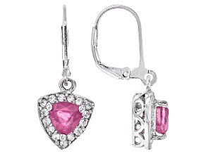 Pink Mahaleo Sapphire Sterling Silver Earrings