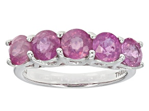 Pink Mahaleo Sapphire Sterling Silver 5-Stone Band Ring 3.25ctw
