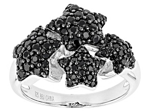 Black Spinel Sterling Silver Stars Ring 2.14ctw