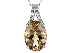 Champagne Quartz Sterling Silver Pendant With Chain 9.10ctw