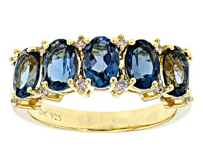 London Blue Topaz 18K Yellow Gold Over Sterling Silver Band Ring 2.65ctw