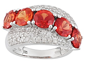 Orange Lab Created Padparadscha Sapphire Sterling Silver Ring 4.95ctw