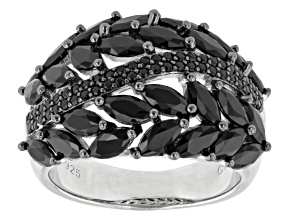 Black Spinel Sterling Silver Ring 3.42ctw