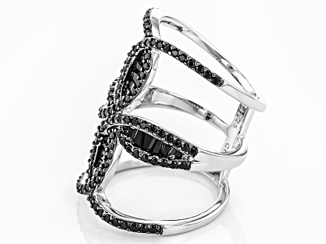 Black Spinel Sterling Silver Ring 2.15ctw