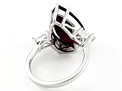 Red Lab Created Ruby Sterling Silver Ring 8.29ctw