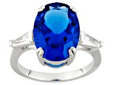 Blue Lab Created Spinel Sterling Silver Ring 6.08ctw