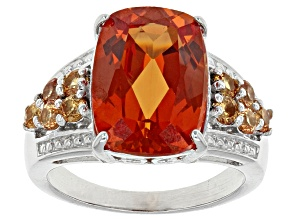 Orange Lab Created Padparadscha Sapphire Sterling Silver Ring 8.12ctw