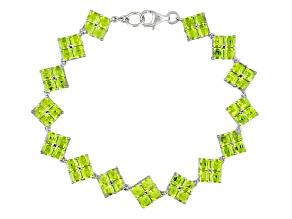 Green Peridot Sterling Silver Bracelet 21.00ctw