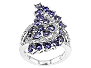 Blue Iolite Sterling Silver Ring 2.36ctw