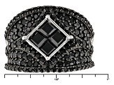 Black Spinel Sterling Silver Ring 3.39ctw