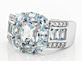 Blue Brazilian Aquamarine Sterling Silver Ring 3.25ctw