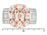 Pink Morganite Sterling Silver Ring 2.82ctw