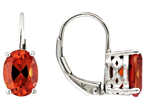Orange Lab Created Padparadscha Sapphire Rhodium Over Sterling Silver Earrings 3.02ctw