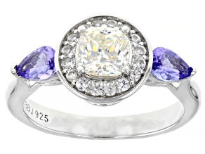 White Fabulite Strontium Titanate with Tanzanite And White Zircon Rhodium Over Silver Ring 1.94ctw