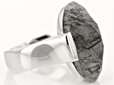 Brown Tourmalinated Quartz Sterling Silver Solitaire Ring. 6.80ct