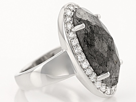 Gray Tourmalinated Quartz Sterling Silver Ring 7.25ctw