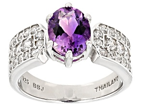 Purple Amethyst Sterling Silver Ring 2.16ctw