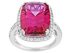 Pink Topaz Sterling Silver Ring 12.27ctw