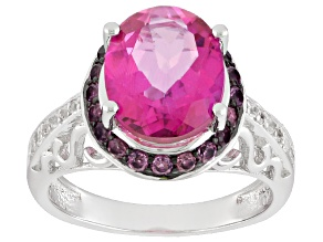 Pink Topaz Sterling Silver Ring 3.33ctw