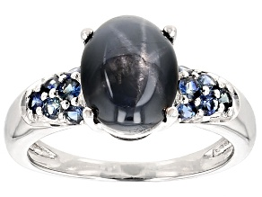 Blue Star Sapphire Sterling Silver Ring 3.89ctw