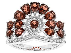 Red Garnet Sterling Silver Ring 3.71ctw