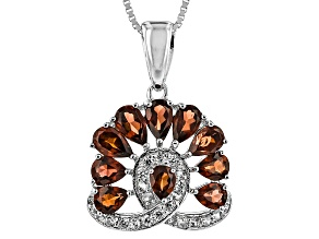 Red Garnet Sterling Silver Pendant With Chain 2.14ctw