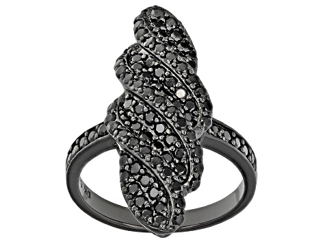 Black Spinel Black Tone Sterling Silver Ring 1.50ctw