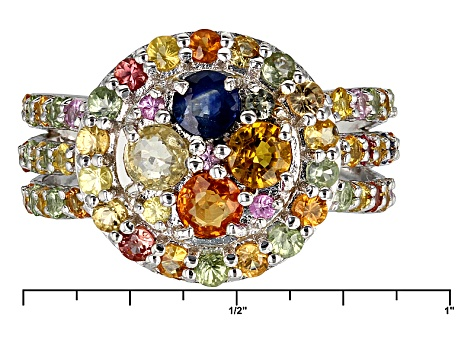 Multi-Color Sapphire Sterling Silver Ring 2.74ctw