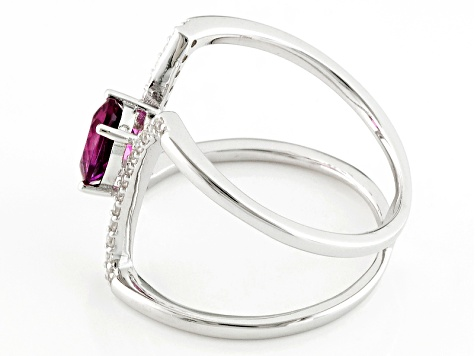 Red Lab Created Bixbite Sterling Silver Ring .75ctw