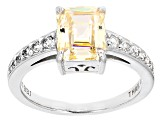 White Fabulite Strontium Titanate White Zircon Sterling Silver Ring 2.66ctw
