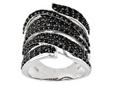 Black Spinel Sterling Silver Band Ring 2.06ctw