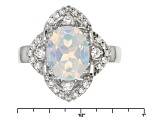 Multicolor Lab Created Opal And White Zircon Sterling Silver Ring 1.72ctw
